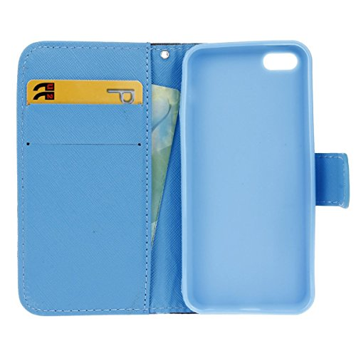 Hülle für iPhone 5C, Tasche für iPhone 5C, Case Cover für iPhone 5C, ISAKEN Malerei Muster Folio PU Leder Flip Cover Brieftasche Geldbörse Wallet Case Ledertasche Handyhülle Tasche Case Schutzhülle Hü Möwe Wellenreiten