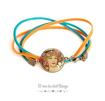 bracelet cabochon en verre, Visage Femme, Féminin, féminité, peinture Art