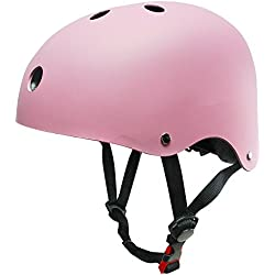 Monopatín casco, SKL casco tamaño ajustable ABS para ciclismo rodillo patinaje deportes al aire libre, color rosa, tamaño mediano