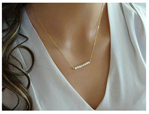 Epinki Damen Kette 1 Layer Kette Perlen Damenkette Kette Gold (Glänzende Zwillinge Das Kostüm)