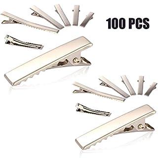 Ardisle 100x 45mm große Alligator-Haar-Clips, ohne Verzierung, silber, ideal für Haarstylings