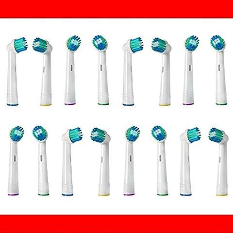 16 Stk. Aufsteckbürsten, Ersatzbürsten, passend für --- ALLE --- Braun ORAL-B Elektrische Zahnbürsten mit oszillierenden Rundbürsten (Modelle mit rundem Bürstenkopf) z.B. kompatibel mit Oral B Triumph, Vitality, ProWhite, Sensitive + Clean, White + Clean, Professional Care, Precision Clean, SmartSeries, Black, Center, Oxyjet, Center, TriZone, Advance Power, Advance Power Kids, Stages Power, Precision Clean, Dual Clean, Pro Health, Plak Control, 3D Excel, Interclean IC2522, ID2021, ID2025, ID2025T, weitere kompatible OralB Typen 3711, 3725, 3728, 3731, 3738, 3744, 3745, 3756, 3757, 3709, 4729, 4730, 4731, 4733, 4736, 4739, 4740, 4712, 4713, 4716, 4721, 4725, 4726, 4727, 4728, D2010, D4010, D4510, D5000S, D5011,