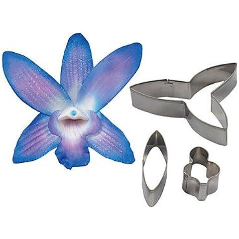 BWTCJ Stampo di cottura,quattro c dendrobium orchidea petalo di fiore taglierina, strumenti che decora fondente accessori stampo cookie cutter strumenti