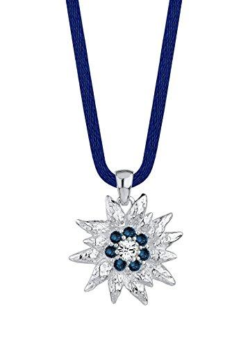 Elli Damen-Halskette mit Anhänger Edelweiß WIESN 925 Sterling Silber mit 8 Swarovski Kristallen blau 45 cm 0104263014_45