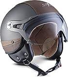 SOXON SP-325-URBAN Titan · Cruiser Pilot Biker Helmet Jet-Helm Retro Vintage Scooter-Helm Roller-Helm Mofa Motorrad-Helm Bobber Chopper Vespa-Helm · ECE zertifiziert · Leder Design · mit Visier · inkl. Stofftragetasche · Grau · S (55-56cm)