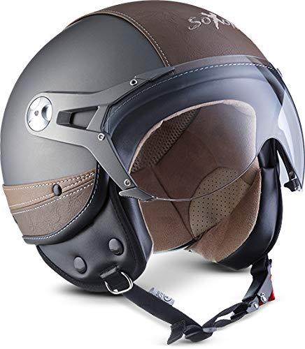 SOXON SP-325-URBAN Titan · Cruiser Bobber Motorrad-Helm Jet-Helm Vespa-Helm Pilot Retro Chopper Vintage Roller-Helm Biker Scooter-Helm Mofa Helmet · ECE zertifiziert · Leder Design · mit Visier · inkl. Stofftragetasche · Grau · XL (61-62cm)