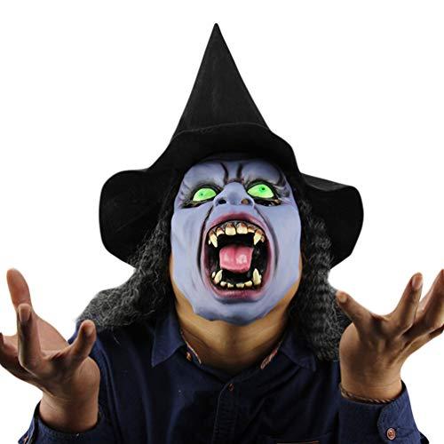 Xinwcanga Bruja de Pelo Largo Halloween Máscaras De Payaso Aterrador Látex Terror Miedo látex Peluca (Azul, Talla única)