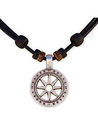 HANA LIMA ® Halskette Surferkette Lederkette Herrenkette Damenkette Metallanhänger Kompass