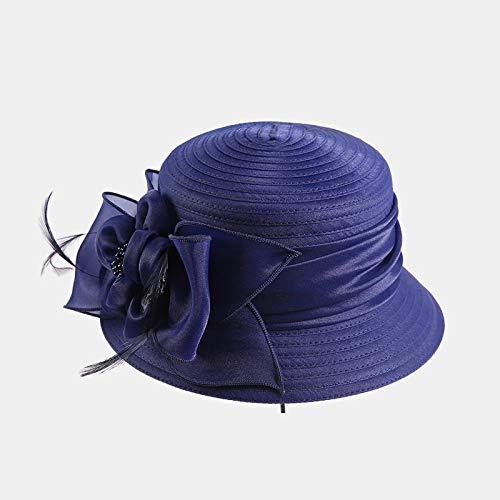 Ropa Damas Sombrero para el Sol Verano Kegan Hilo de Coser Gorro de Tela Protector Solar Visera Sombrero Azul Oscuro