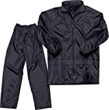 Vbirds Men's Bike/Scooter Water Proof Plain Unisex Rainsuit with Bag (Black, Large)