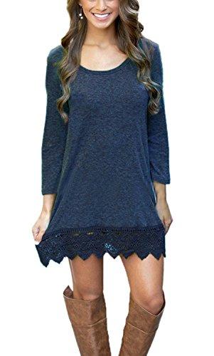 Summer Mae Damen A-line Lace Quaste Beiläufigkeit Herbst Kleid Retro-Look Dress Marineblau