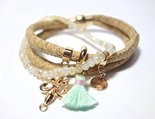 2 Zoll-glas-perlen (Korkarmband Armband aus Kork mit rosegoldfarbenen Metallelementen und Stretcharmband Perlenarmband aus Glasschliffperlen 2 in 1 hippie boho lässiges Armband)