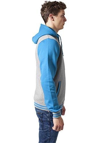 Urban Classics Herren Jacke Bekleidung Zip Hoody grey-turquoise