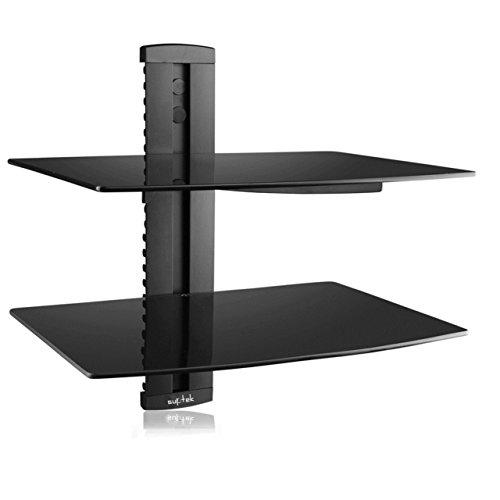 Suptek Multimedia Wandregal TV Rack Wandhalterung für DVD Player Glasregal Wandboard mit 2 Glas-Ablagen Sicherheitsglas und Kabelmanagement-System Schwarz CS202