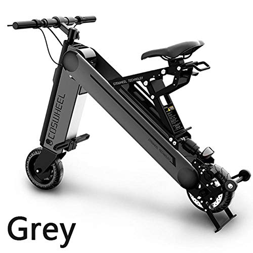Hold E-Bikes Mini Folding Electric Car Erwachsene Lithium-Batterie Fahrrad Dreirad Lithium-Batterie Faltbare tragbare Reise-Batterie Auto@Grau_10inch45KM