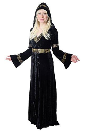 DRESS ME UP - Edles und aufwändiges Damen Kostüm schwarzes langes Kleid Elfe Waldelfe Märchen Mittelalter Cosplay K50 Gr. 42 / M