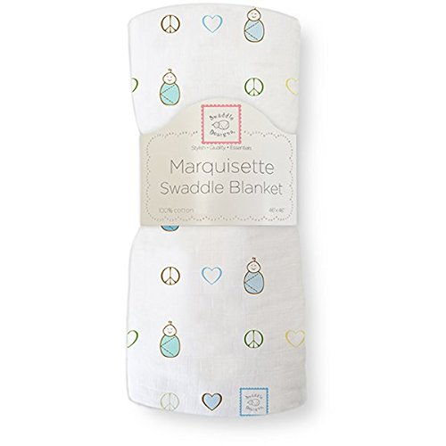 SwaddleDesigns Marquisette Swaddling Blanket, Peace Love Swaddle, True Blue (japan import)
