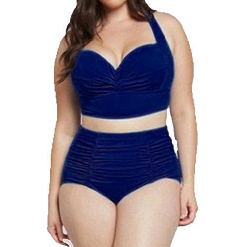 Bademode Dasongff Frauen High Waist Badeanzug Bauchweg Bademode Print Flower Beach Bikini Set Tankini Oberteile Top Plus Size (4XL, Sexy Blau)