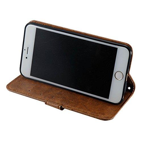 iPhone 6Plus Hülle,Fodlon® Mode Totenkopf Geprägt mit Karte Schlitze Telefon Schutzhülle -Braun braun