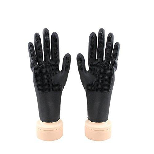 Bluelover Silikon Gel Anti-Skid Handschuh Hair Salon Tools Barber Shop Waschen Haarfärbemitteln Handschuhe - Schwarz