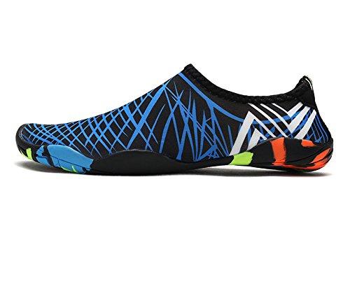 Xatan Wasserschuhe Aquaschuhe Strand Schwimmbad Surf Yoga Laufsport Schuhe Neoprenanzug Barfuß Haut Socken für Damen Herren Kinder (38, Blue)