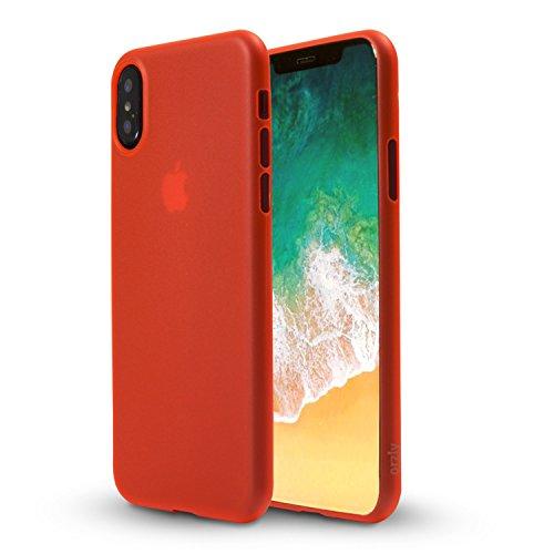Custodia iPhone X, Orzly Slim Case per Apple iPhone X / iPhone 10 (2017 Modello) - Ultra Sottile (0,28 mm) Custodia Protettiva - COLOR GHIACCIO ROSSO Orzly Slim Case per iPhone X