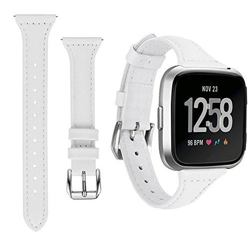 HappyTop Damen Fitbit Versaband, Uhrenarmband aus Leder, Ersatz für Fitbit-Armbänder, damen, weiß