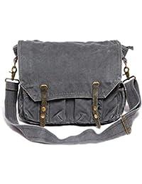 iBaste Men Single Messenger Bag bolso vintage lona bolso de hombro con Correas durables (Negro+Gris)