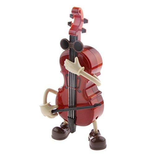 Ornamente Weihnachten Gitarre (MagiDeal Spieluhr Musikspieldose mit Niedlichen Schaukel Kerl Spielt Cello Muster)