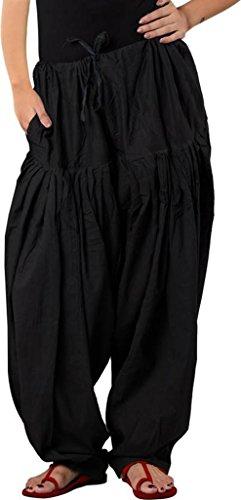 Anaro Black Cotton Patiala Salwar(Pants) for Women Free Size