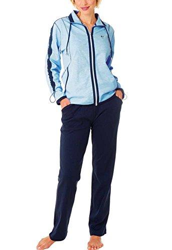 Komfort Loungewear (Hajo - Damen Freizeitanzug / Hausanzug jeans melange / blau Interlock Klima-Komfort 23)