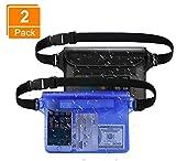 BHGWR 2 Pack Bolsas Agua con Cintura Ajustable, Impermeable Estuche de Funda estanca movil para la Deriva de la Playa Natación Kayak Pesca en Botes, cámara telefono Bolsa Impermeable (Negro/Azul)