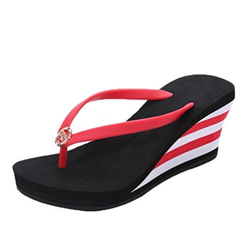 LINNUO Infradito Donna Zeppa Flip-Flop a Strisce Sandali Piattaforma Pantofole con Tacco Ciabatte da Mare Spiaggia con Metallo (Nero,CN 36)
