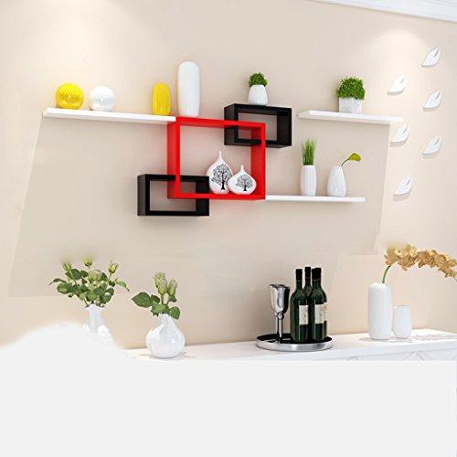 Étagère en tissu noir et rouge Cloison blanche Créative Feuilles blanches Chambre Décoration murale