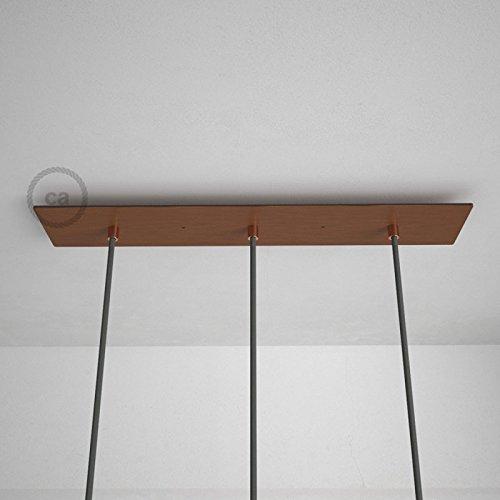 Creative-Cables Rosace XXL rectangulaire 60x12cm à 3 Trous cuivre satiné avec Les Accessoires.