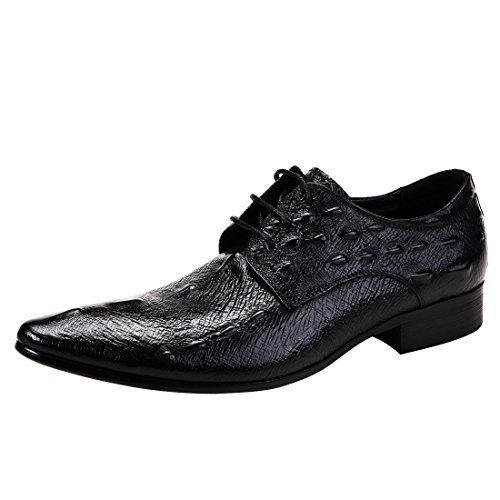 MERRYHE Herren Krokodil Muster Spitzen Schnürschuhe Derby Echtes Leder Business Formelle Schuhe,Black-43 -