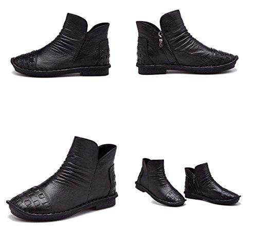 Plus Travail Tête Cuir Dames chaudes Bottes Black Femmes Chaussures Nouvelles Loisirs Talon Pompes Basse Fête Courtes Cachemire Fête de antidérapantes véritable ronde Chaussures lautomne OxzPBqdz
