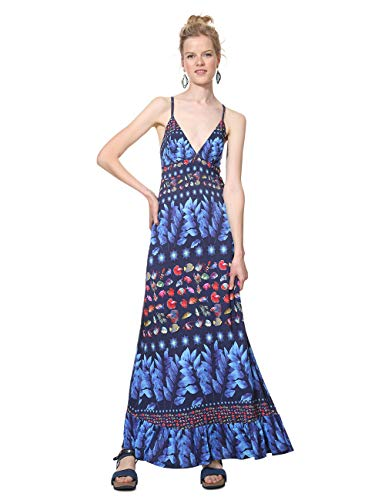 Desigual Damen Kleid Dress Straps Greta Woman Blue, Blau (Marino 5001), Medium