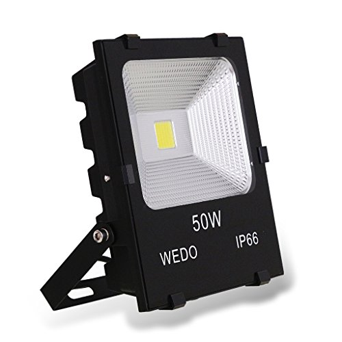 WEDO 50W Ultra Bright Outdoor LED Flutlicht Scale-Like Reflektor IP66 Wasserdichte Hof Garten Security Lights mit Stecker Daylight Weiß, 6500K (EU Plug Converter enthalten)