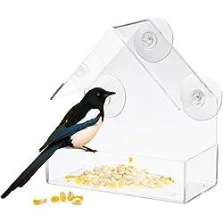 Following Transparent Acrylic Adsorption Type House Shape Bird Feeder Innovative Suction Cup Feeder,Products fenêtre Nichoir/mangeoire à Oiseaux
