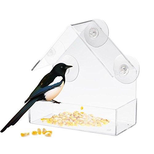 Yves25Tate Bird Feeder Vogelhaus klar-transparent zum Aufhängen, mit 3 Saugnäpfen, ca. 15,1 * 7,3 * 15,3 cm / 5,94 * 2,87 * 6,0 in, Acryl Wetterfestes Design für Fenster im Haus passend
