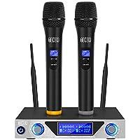 Tonor Microfoni Wireless Set Radiomicrofono VHF Sistema con Microfoni Dinamici Senza Fili con Display LCD per Karaoke