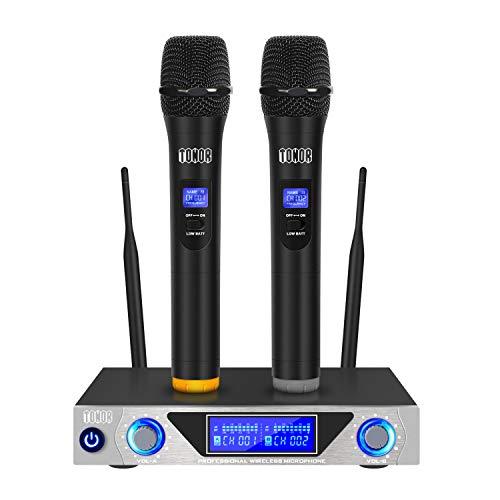 Tonor VHF Micrófono Inalámbrico Dual Profesional con Receptor de Micrófono 2 Micrófono de Mano para la Reunion, Fiesta y Karaoke