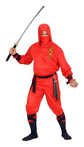Widmann 01333–adultos disfraz de dragón ninja, con capucha Top, pantalones, cinturón, máscara, rojo