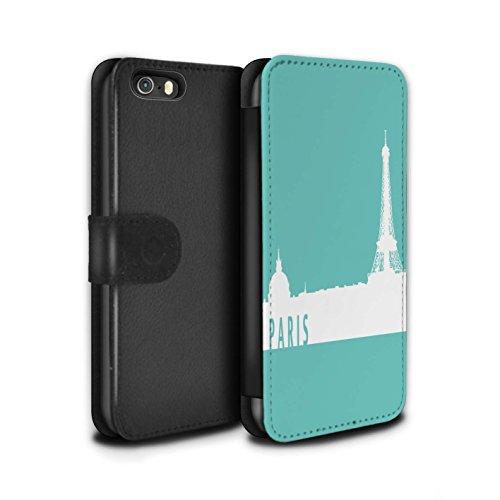 Stuff4 Coque/Etui/Housse Cuir PU Case/Cover pour Apple iPhone SE / Pack 5pcs Design / Toits de la Ville Collection Paris/Turquoise