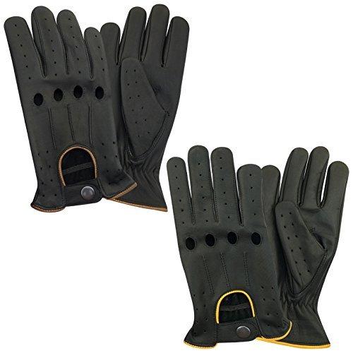Hommes gants en cuir véritable Conduite classique corde Noir avec 4trous 507avec passepoil Jaune & marron