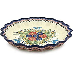 Polish Pottery Fluted Pie Dish 13-inch Spring Splendor UNIKAT