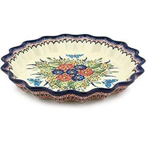 Polish Pottery Fluted Pie Dish 13-inch Spring Splendor UNIKAT