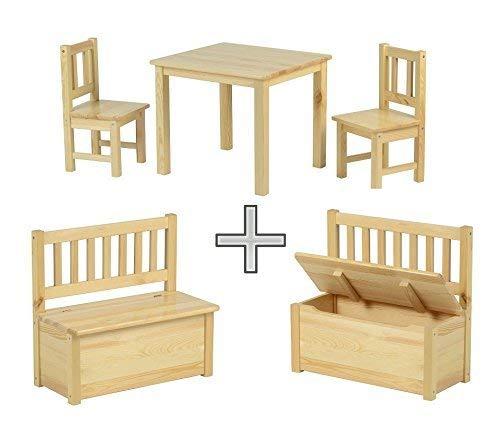 BABYDAY Ensemble Table et chaises pour Enfants 1 Table, 2 chaises, 1 Banc Coffre | Kit Complet de Meubles pour Enfants, Banc avec Espace de Rangement Inclus | 4 Couleurs au Choix -> NN