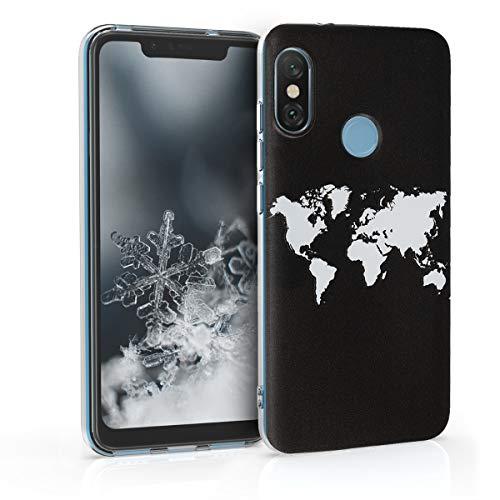 kwmobile Funda para Xiaomi Redmi 6 Pro/Mi A2 Lite - Carcasa de TPU para móvil y diseño de Mapa del Mundo en Blanco/Negro
